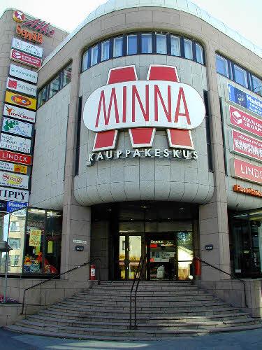 Kauppakeskus Minna, Kuopio. Taivassalon punaista graniittia.