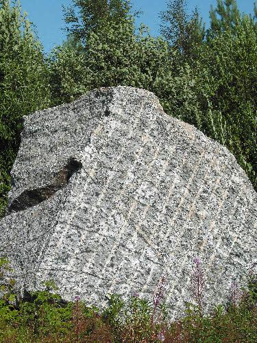 """Sara-ahon """"Leopardikivi"""" eli vuolukivi, jossa on mustia serpentiinitäpliä, Polvijärvi."""