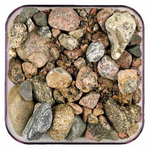 Maalajinäyte, sora. Näyte GTK:n kivimuseo.