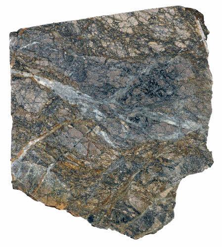 Suurikuusikon kultamalmia. Runsaasti ja monivaiheisesti breksioitunut,Hajanaista arseeni- rikkikiisua. Emäkivi on koostumukseltaan intermediääristä grafiittista fylliittiä tai tuffiittia. Kuva-alan halkaisija on 6 cm.